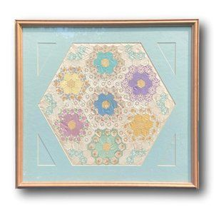 Antique Framed Grandmother's Flower Garden Quilt